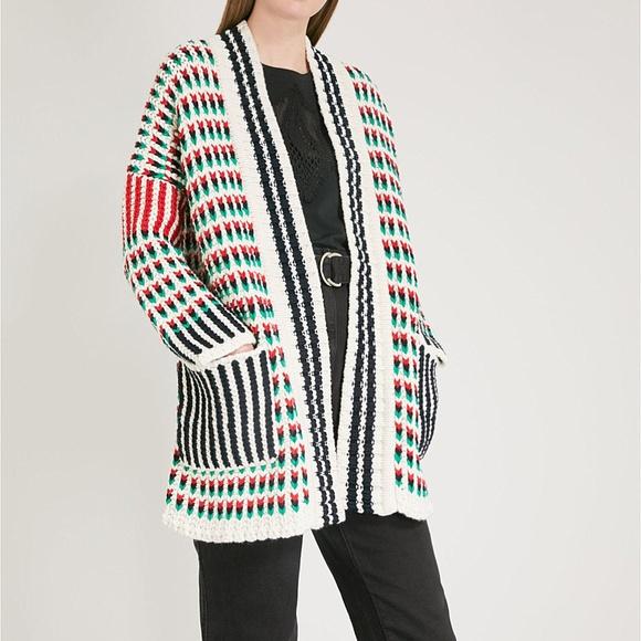 d3848dbe4b2280 Maje Sweaters - MAJE Long Multi-Colored Chunky Knit Cardigan